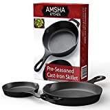 induction based cookware - Pre-Seasoned Cast Iron Skillet 2 Piece Set (12.5 inch & 8 inch Pans) Best Heavy Duty Professional Restaurant Chef Quality Pre Seasoned Pan Cookware Set - Great For Frying, Saute, Cooking Pizza & More