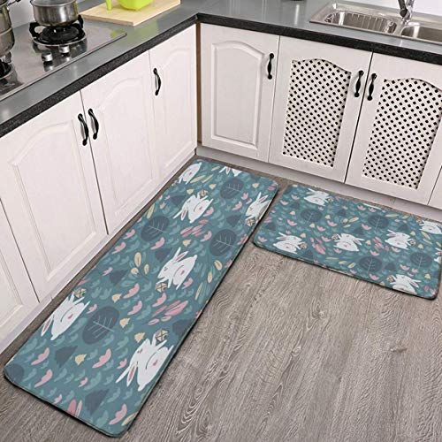 Kitchen Mat Cushioned Anti Fatigue 2 Piece Set Happy Easter Eggs Rabbit Spring Flowers Forest Cool Kitchen Floor Mats…