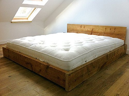 HANDMADE RUSTIC SOLID REDWOOD PINE WOOD SCAFFOLD BOARD PANEL BED