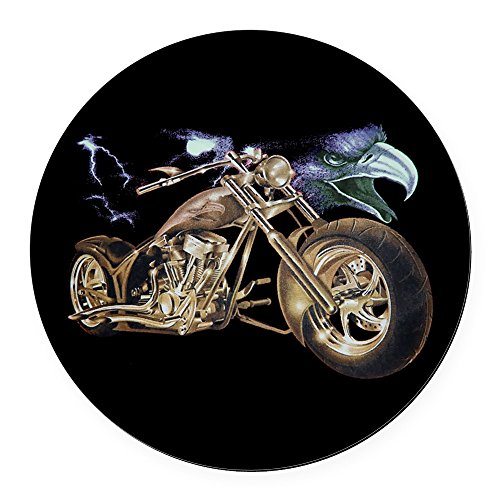Round Car Magnet 5.5 Inch Eagle Lightning and Motorcycle ()