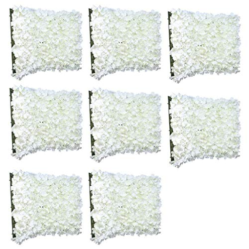 8pcs Romantic Artificial Flower Wall Panels Floral Decor Wedding Venue Cream