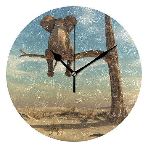 INGBAGS Home Artwork, Elephant Sitting on Branch Printed Wall Table Clock Vintage Home Decoration Ornament Best Gift for Living Room Girls Bedroom Kitchen