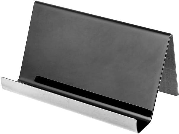 Porta biglietti da visita in acciaio INOX Youliy colore: nero B 9 x 5 x 4,5 cm