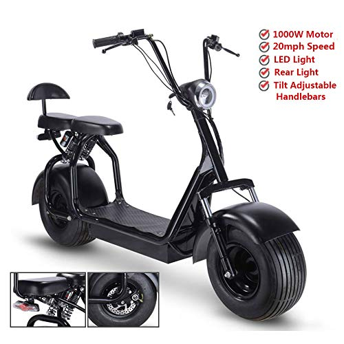Rugged 48V 1000W Electric Fat Tire Scooters,Adult Citycoco with 2 Seat Power Scooter WERCS Battery Certificate,Key Start and Power Display
