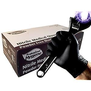Guantes médicos desechables, resistentes, de nitrilo, de color negro, sin polvo, caja de 100 18