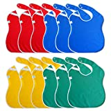 Large Toddler Bib. Waterproof with Snaps. Wide Coverage Helps Keep Stains Off Your Child's Clothing. Plain Color Baby Gift Set Pack of Boy and Girl Bibs. (12 Pack, RBYG (18-48 Months))