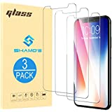 For iPhone X Screen Protector, Shamo's [ 3 PACK ] iPhone X Tempered Glass Touch Accurate Fit, Anti Scratch, Rounded Edges, High Definition Clarity, Apple iPhoneX Glass 0.25mm Thin Case Friendly