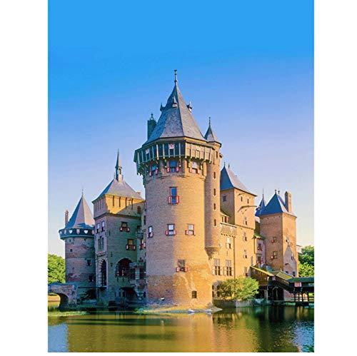 (Majestic Castle 5D DIY Full Square Diamond Painting Cross Stitch Diamond Mosaic Art Embroidery Home Decor Frameless)