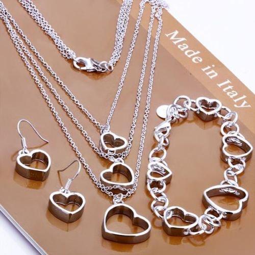 preciastore Women's 925 Sterling Silver Heart Necklace, Bracelet and Earring Set (Necklaces Bracelets)