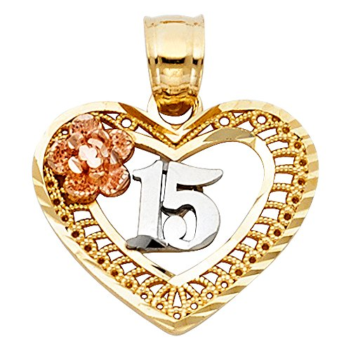 Ioka Jewelry - 14K Tri Color Gold Sweet 15 Years Quinceanera Heart Charm Pendant For Necklace or Chain Sweet 15 Heart Charm