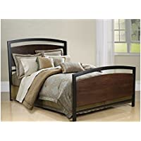 BellO B594KMB Metal Bed Frame King, Cocoa Wood with Black Metal Finish Framing