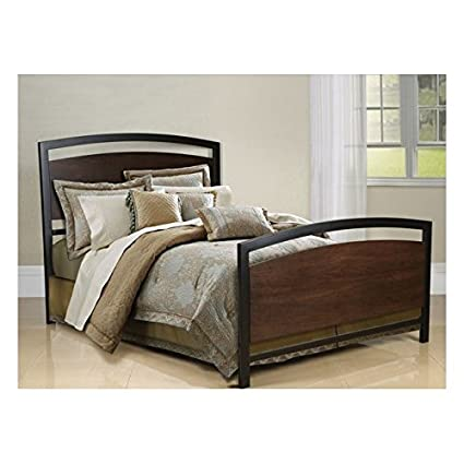 Amazon Com Bell O B594kmb Metal Bed Frame King Cocoa Wood With