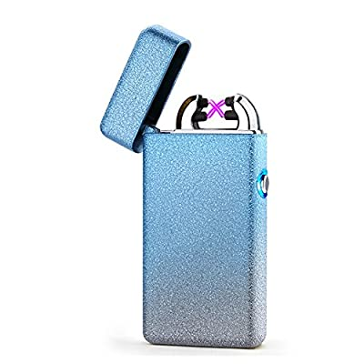 Arc Lighter Plasma Electronic Lighters USB Rechargeable Tesla Electric Lighter Windproof Flameless Lighter(Silver)