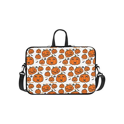 Vector Orange Halloween Pumpkin Grey Outline Pattern Briefcase