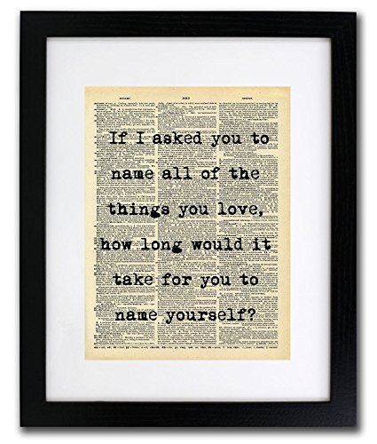 Name The Things You Love Quote Dictionary Art Print - Vintage Dictionary Print 8x10 inch Home Vintage Art Wall Art for Home Decor Wall Decorations For Living Room Bedroom Office Ready-to-Frame by Local Vintage Prints