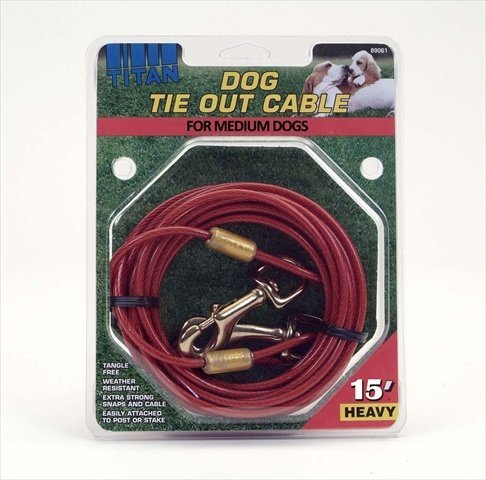 Coastal Pet Titan Dog Tie Out Cable Red Heavy-15 Foot by Coastal Pet