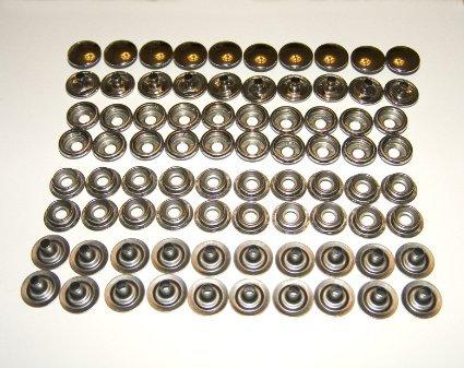 80 Piece Stainless Steel Fastener Snap Set, 20 Each: Cap, Socket, Stud and Eyelet, Marine Grade Pro Grade Harvard Marine