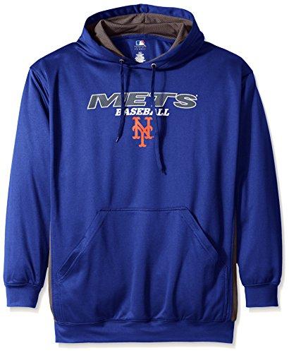 MLB New York Mets Men's Fleece Hood, 5X, Royal/ Storm Grey (Mets Sweatshirt Mens)