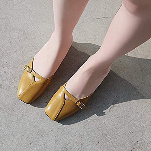 JULY Loafer Comfy Sandals Women's Summer Yellow Flats Mules Slip Backless Toe Lazy Dress Shoes Slide On Closed T dSqx4Ewd