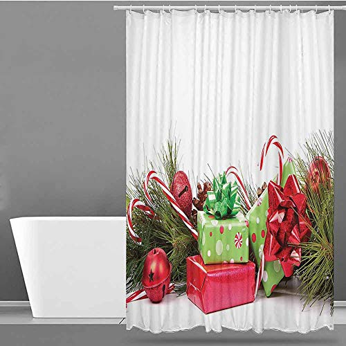 VIVIDX Womens Shower Curtain,Christmas,Ornate Boxes with Dots Candy Cane Festive Wrapped Seasonal Elements Surprise,Single stall Shower Curtain,W55x86L Fern Green Ruby