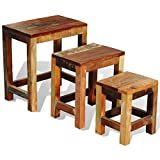 Festnight Reclaimed Wood Set of 3 Nesting Tables Vintage Antique-style