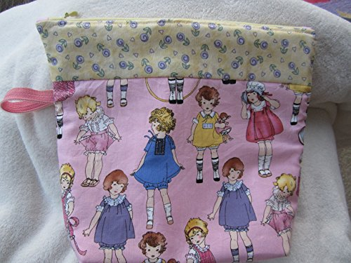 Vintage Girly Girl Print Zipper Pouch, Cosmetic Bag, Organizer