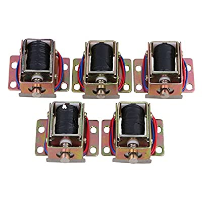BQLZR File Cabinet Door Electric Lock Assembly Solenoid DC 12V 0.6A TFS-A32 Cylindrical Latch Pack of 5