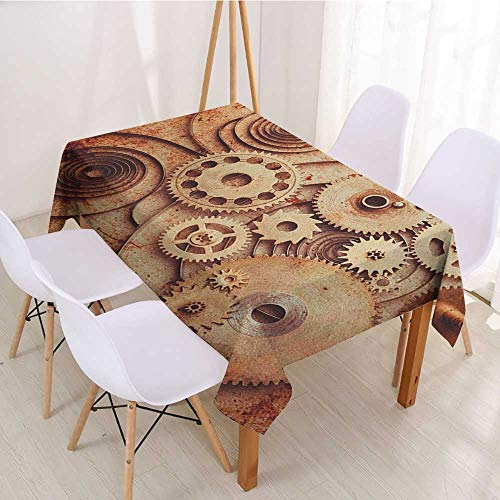 Tablecloth for Kids/Childrens Vintage,Mechanical Clocks Details Old Rusty Look Backdrop Gears Steampunk Design,Dark Orange Beige,for Buffet Table,Parties,Holiday Dinner,Wedding & More 60