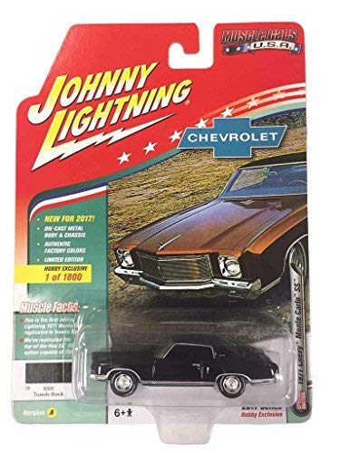 Johnny Lightning JLMC009A 1971 Chevrolet Monte Carlo SS Tuxedo Black Limited Edition to 1800pc Worldwide Hobby Exclusive Muscle Cars USA 1/64 Diecast Model Car