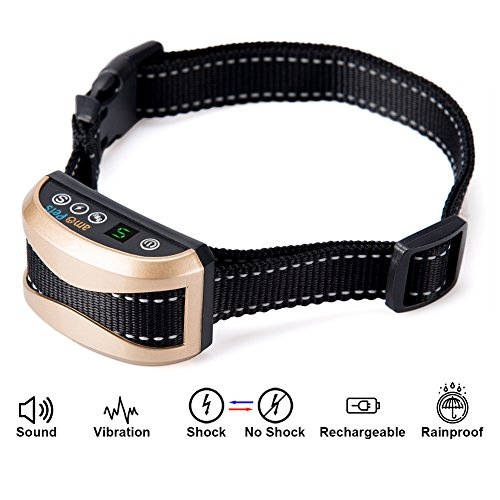 Bark Collar amoPets Rechargeable Anti Barking Collar with Charging Adapter – Rainproof, Harmless Shock or No / Vibration / Beep / Anti Bark Reflective Collar for Small Medium Large Dogs