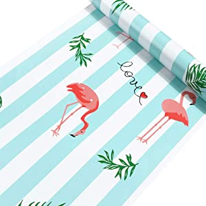 Taogift 17.7x117 Inches Self Adhesive Vinyl Blue and White Striped Flamingo Contact Paper Wallpaper for Walls Cabinets Shelves Dresser Drawer Furniture Crafts Room Decal Removable