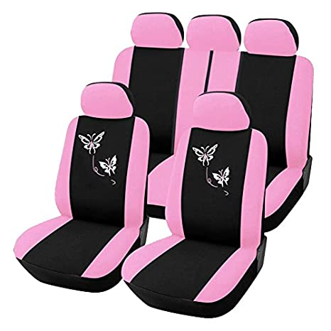 Autoyouth Pink Car Seat Covers For Women Full Set Universal Fit Car Seat Protectors Rear Split Butterfly Flowers Embroidery Compatible To Most Cars