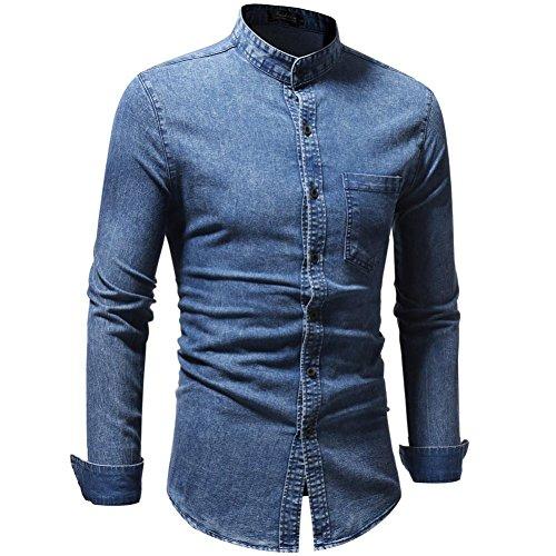 Blusa Hombre Yesmile Camiseta Blusa Superior de la Camiseta de la Manga Larga del Dril de algodón de la Vendimia Apenada del Vintage del otoño de los ...