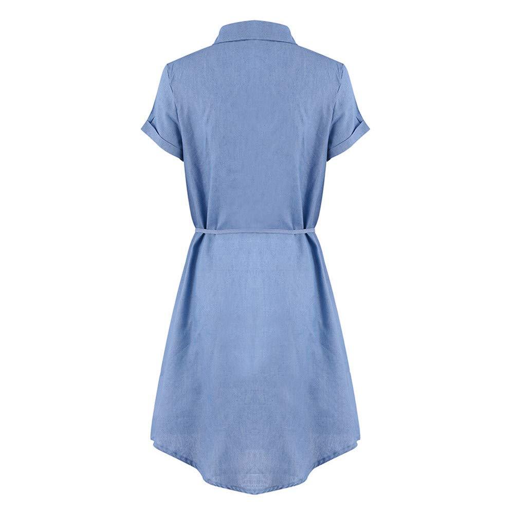 Quealent Women's Plus Size Long Short Sleeve Dress Casual Loose Pocket T-Shirt Dress Sky Blue by Quealent (Image #5)