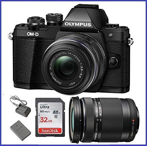 Olympus OM-D E-M10 Mark II Mirrorless Micro Four Thirds Digital Camera with 14-42mm II R Lens [Black] & Olympus M.Zuiko Digital ED 40-150mm f/4.0-5.6 R Lens [Black]