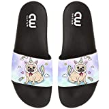 Cute Pug Unicorn Dog Summer Slide Slippers For Girl Boy Kid Non-Slip House Sandal Shoes size 4