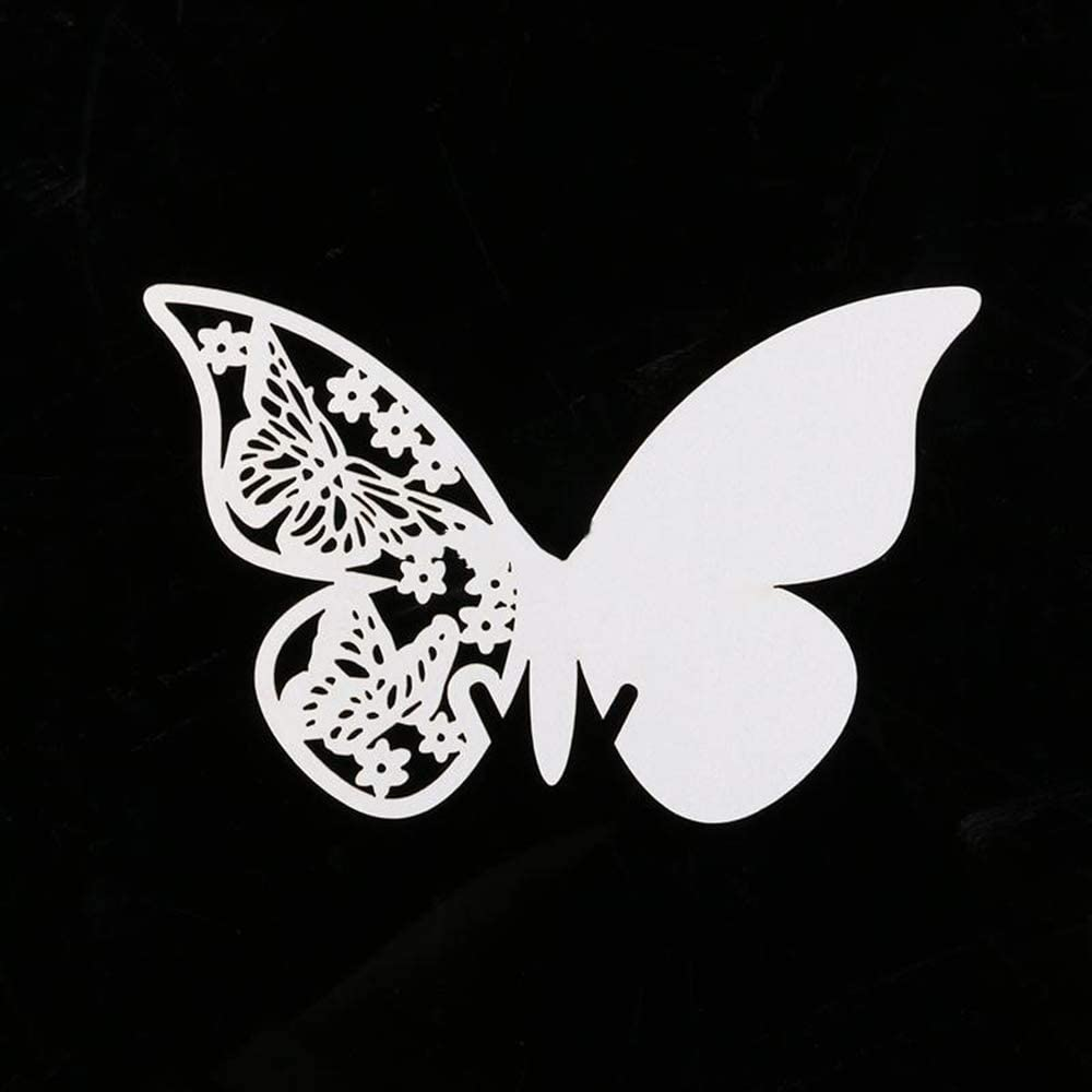 Fliyeong 100 Pieces Butterfly Wine Glass Name Place Card Laser Cut for Wedding Champagne//Wine Glass or Table Number Decoration Practical and Popular
