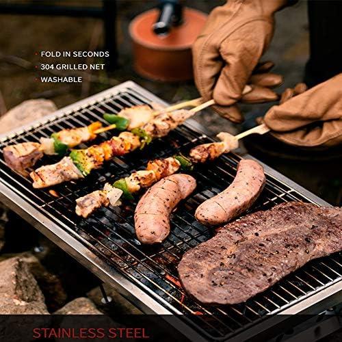 CHUIX Barbecue au Charbon Barbecue, Pliant Réchaud en Acier Inoxydable, Convient pour Barbecue en Plein air, Camping, Layon, Voyage, Convient pour 5-8 Personnes, Sliver