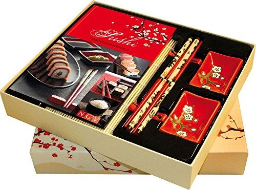 Sushi: Fernöstlich köstlich. Buch mit Sushimatte, 4 Esstäbchen, 2 Stäbchenbänkchen und 2 Sojaschälchen in Geschenkbox (Buch plus)