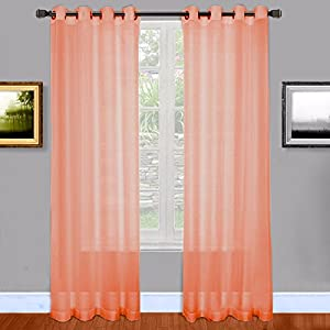 Warm Home Designs Extra Long Pink Coral Sheer Window Curtains With Grommet Top For