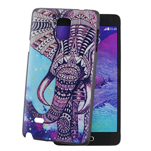 Ancerson Colorful Printed Slim Protective Polycarbonate Hard Back Case Cover for Samsung Galaxy Note 4 IV N9100 Free with a Red Stylus Touchscreen Pen and a 3.5mm Universal Lovely Silvery Flower Blue Panda Pendant Bling Crystal Diamond Rhinestones Dust Plug (Vintage Retro Brown Purple White Wild Elephant Blue Yellow Polka Dot)