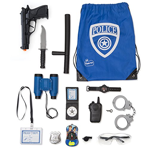 Police Role Play Kit By Funky Toys | 15-Piece Cop Toy Set | Gun Badge Handcuffs Binoculars (Blue Or Green) & Policeman Accessories | Detective Gear For Dress Up & Kids Costumes | Officer Bag Included Toy Cap Guns Kids Costumes