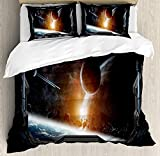 Outer Space Comforter Set, Scenery of Planets from the Window of a Shuttle Bodies Astronaut Space Station Design Bedding Set 4 Piece Duvet Cover Set Includes 2 Pillow Shams, Gray Orange Twin Size