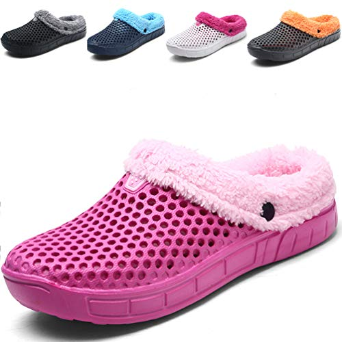 Sherry Love Men's Women's House Slippers Sticking Lining Warm Fleece Clogs Indoor Outdoor Slip On Winter Slippers -Pink-39 EU