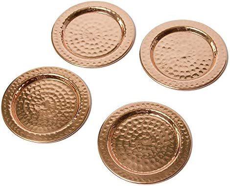 GoCraft Handmade Hammered Copper Coasters with Padded Cork Protection for your Drinks Set of 4 Beverages /& Wine// Bar Glasses