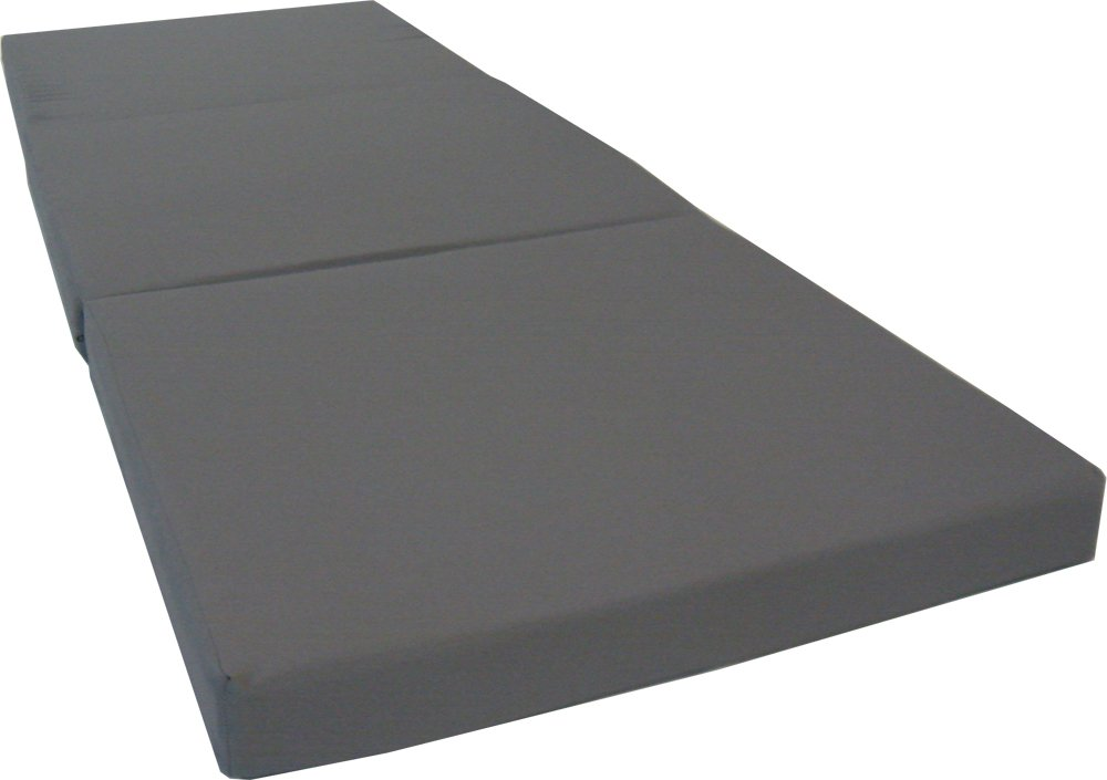 D&D Futon Furniture Gray Trifold Foam Beds 3 x 27 X 75 Inch, Floor Tri-Fold Bed, High Density Foam 1.8 Pounds