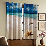 Custom design curtains/Vintage Lace Window Curtain/Grommet Top Blackout Curtains/Thermal Insulated Curtain For Bedroom And Kitchen-Set of 2 Panels(Ocean Decor Bright Sunny Sand Waves Picture Prin) Review