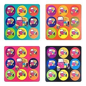 Multicolour Autos, Set of 4 Coasters