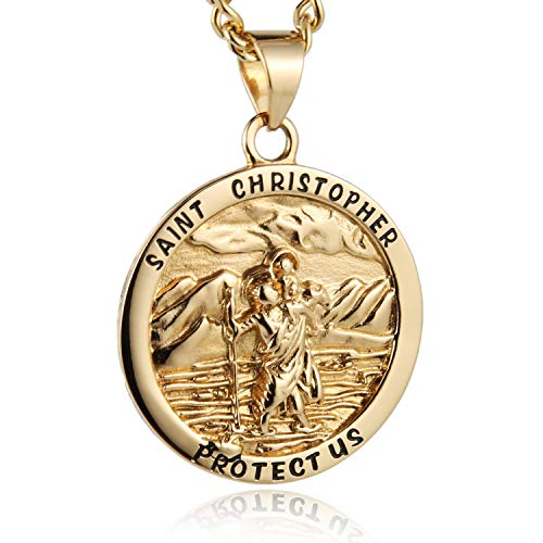 HZMAN Round St. Christopher Pendant Necklace Medal Solid Stainless Steel with 22+2