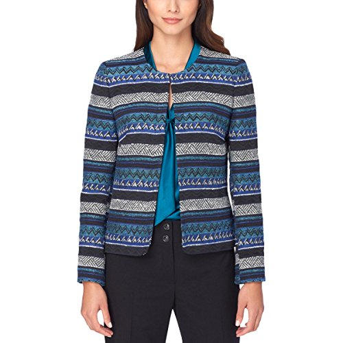 Tweed Fitted Jacket (Tahari ASL Womens Tweed Printed Blazer Blue 10)